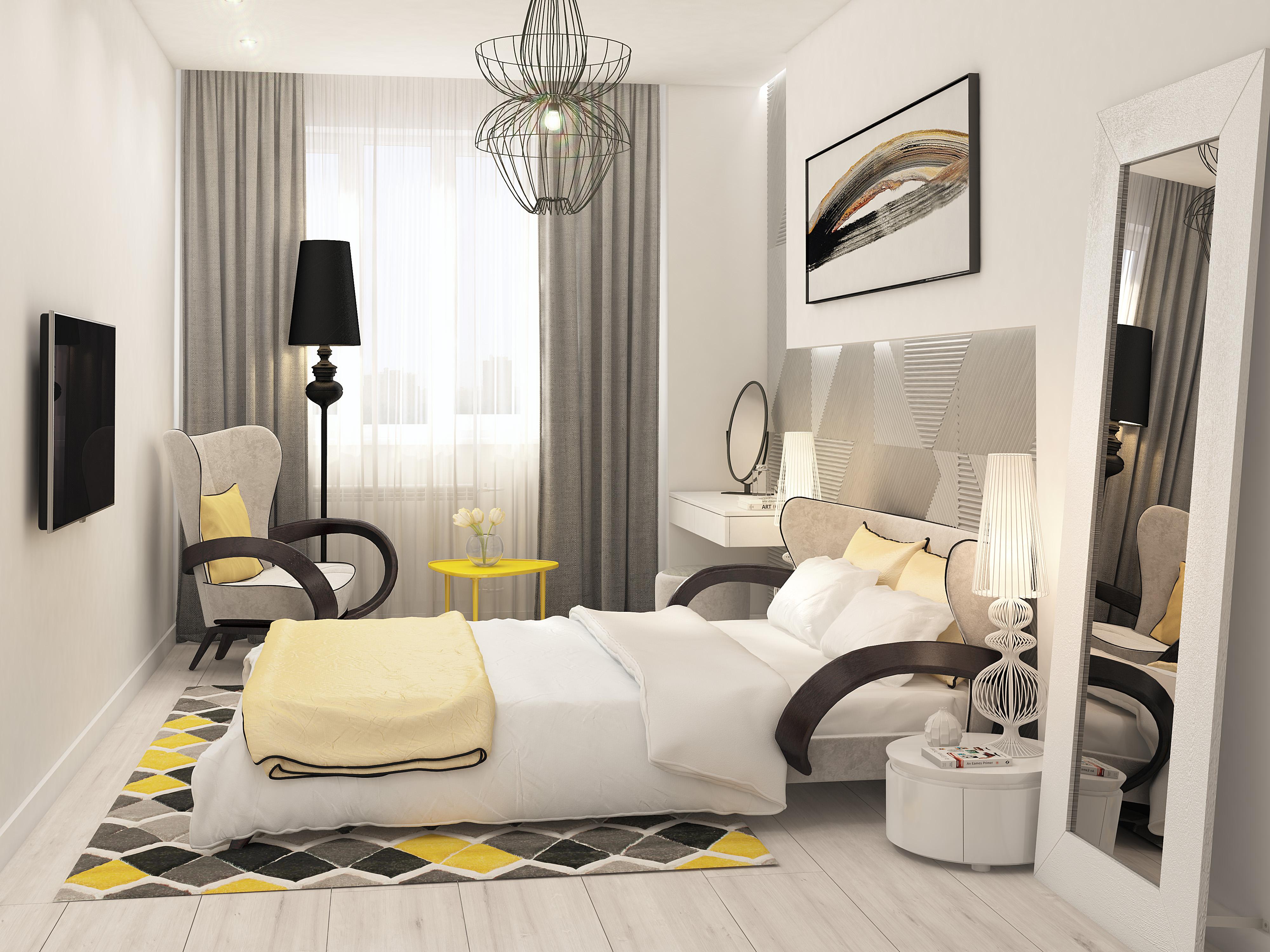 Спальня с дизайнерской кроватью