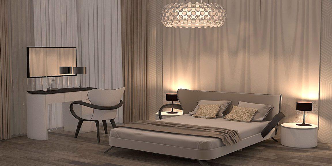 Дизайн проект большой спальни
