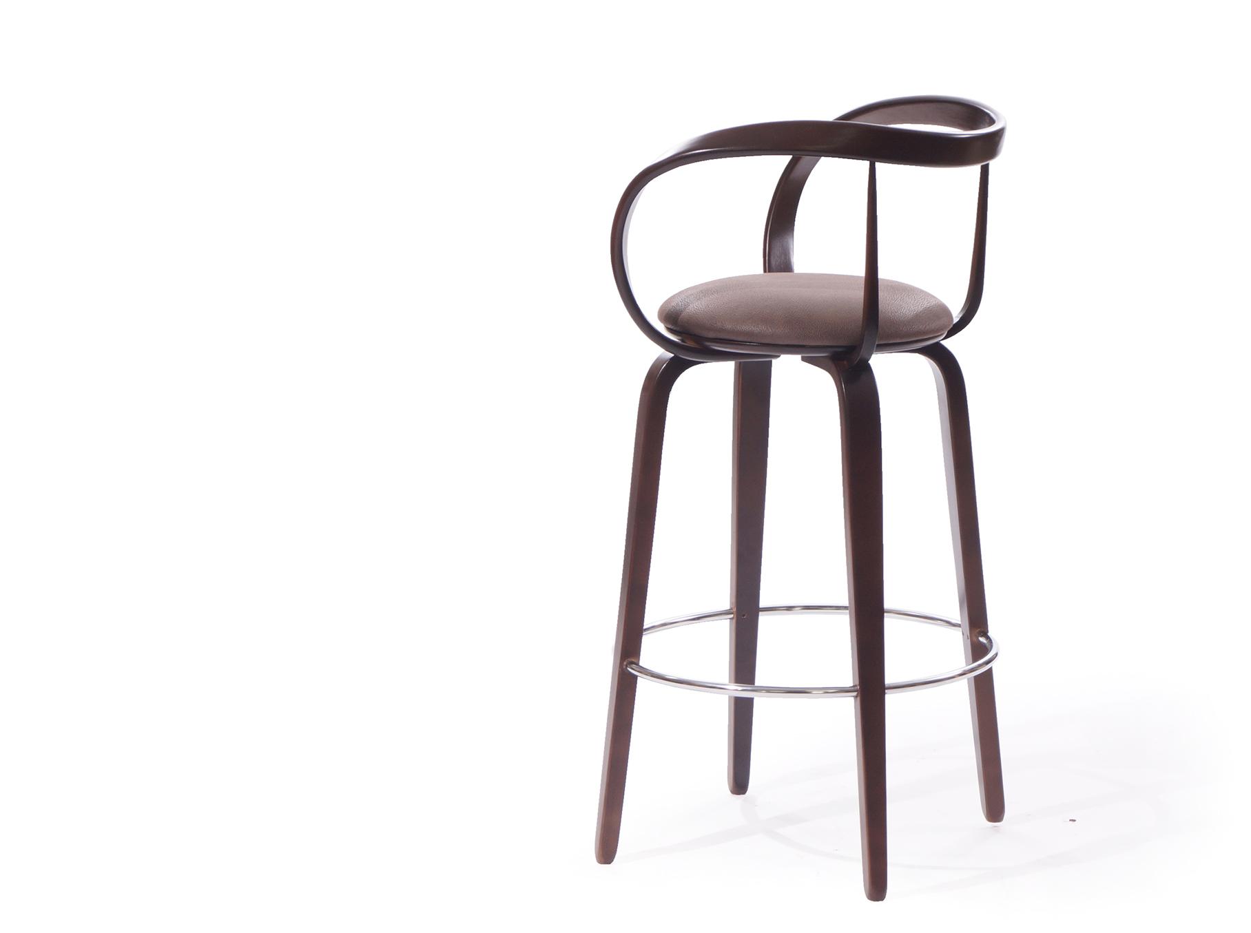 деревянный барный стул со спинкой купить