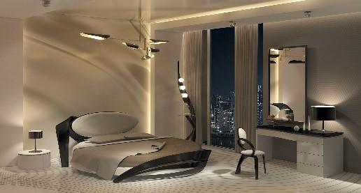 Просторная спальня в стиле модерн