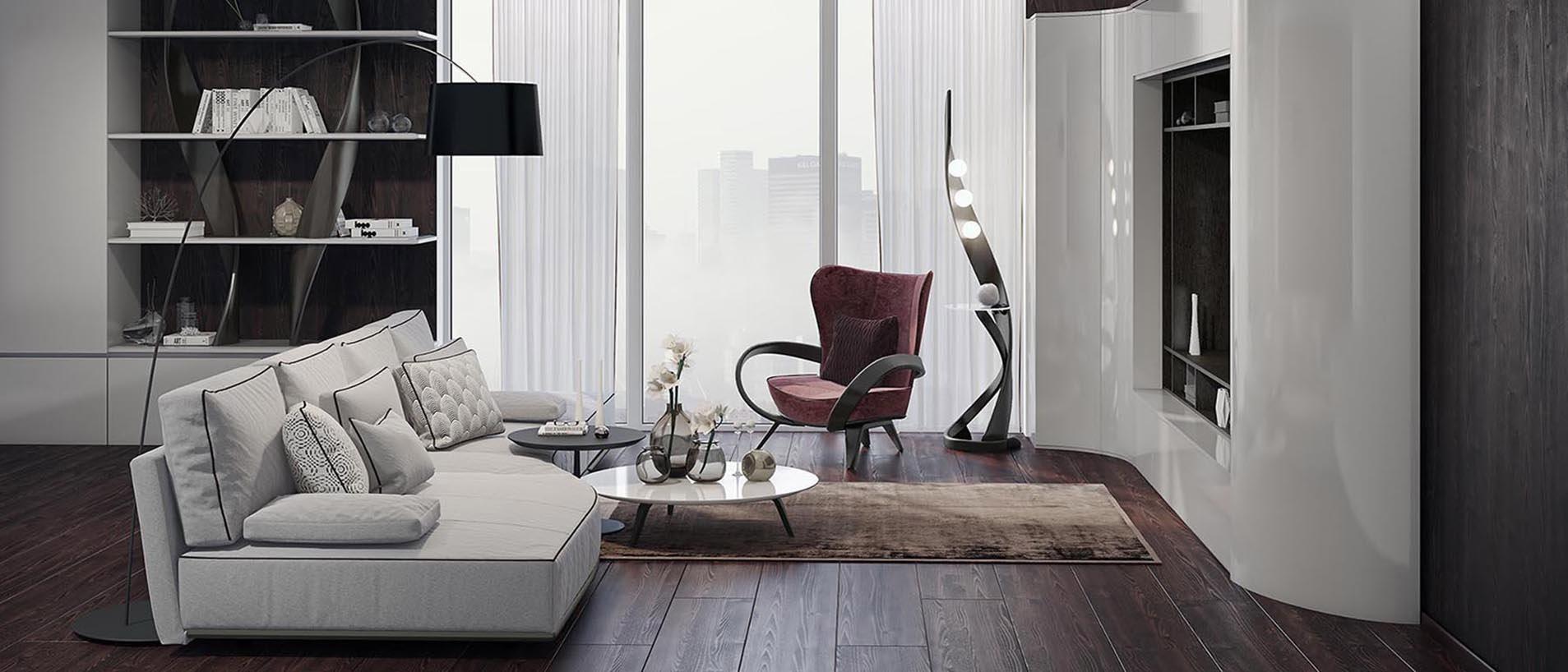Темная гостиная с белой мебелью