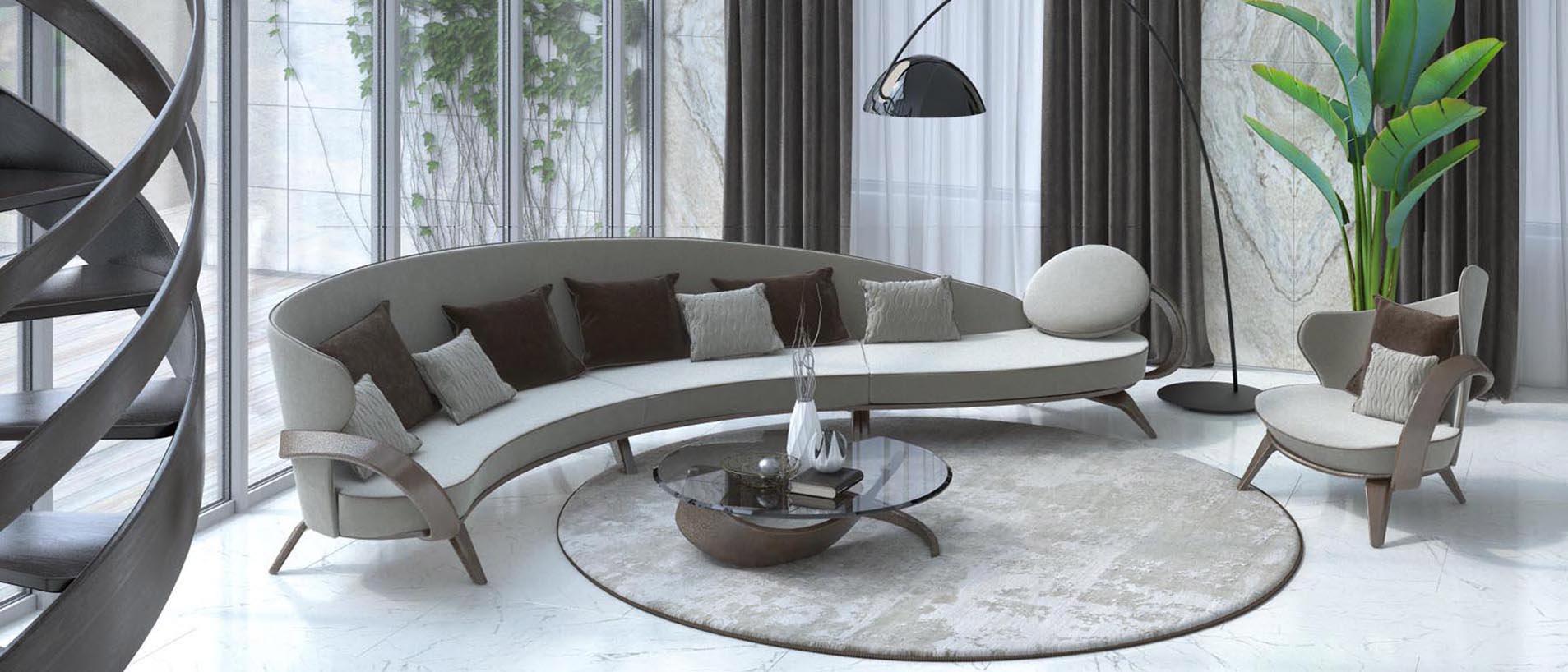 Радиусный диван в гостиной пример