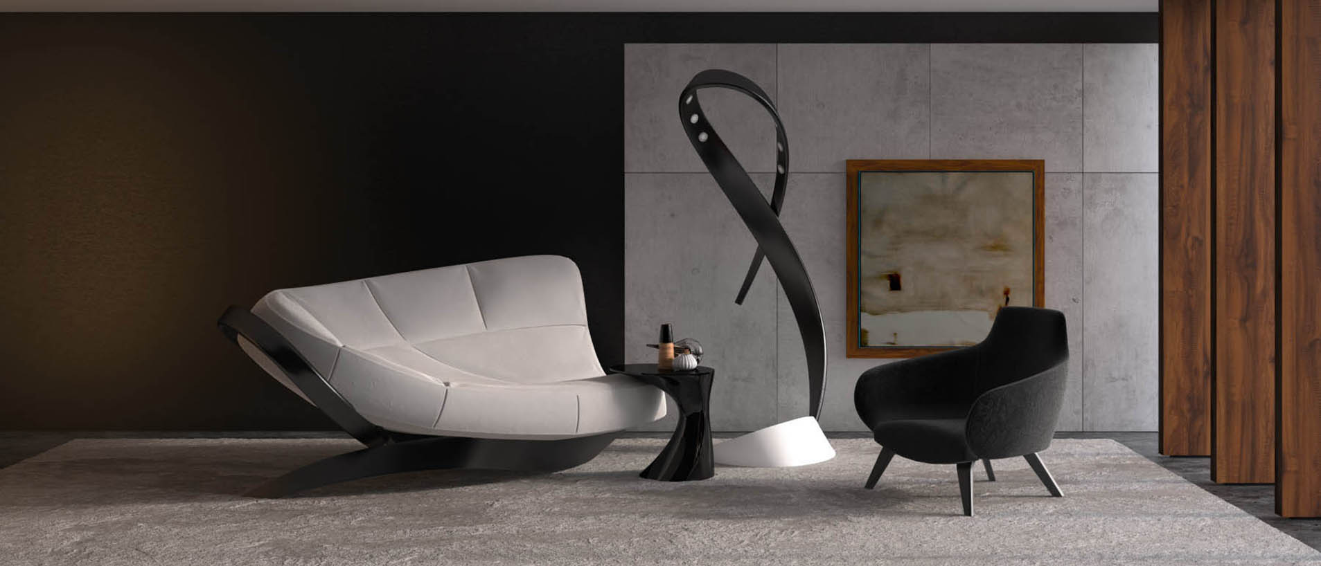 Черное кресло в интерьере