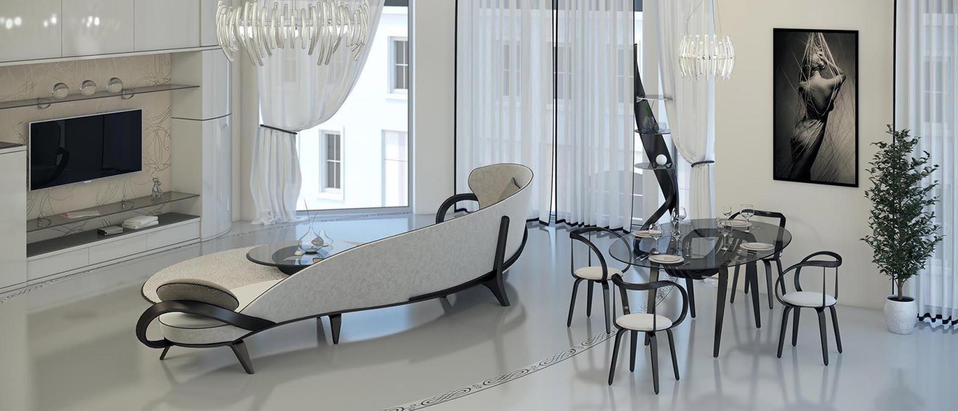 Гостиная-столовая с радиусным диваном