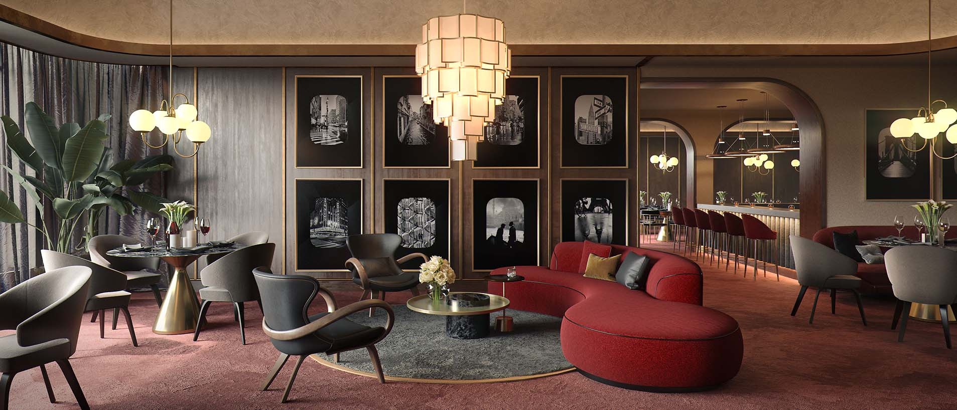 Интерьер ресторана с красной мебелью