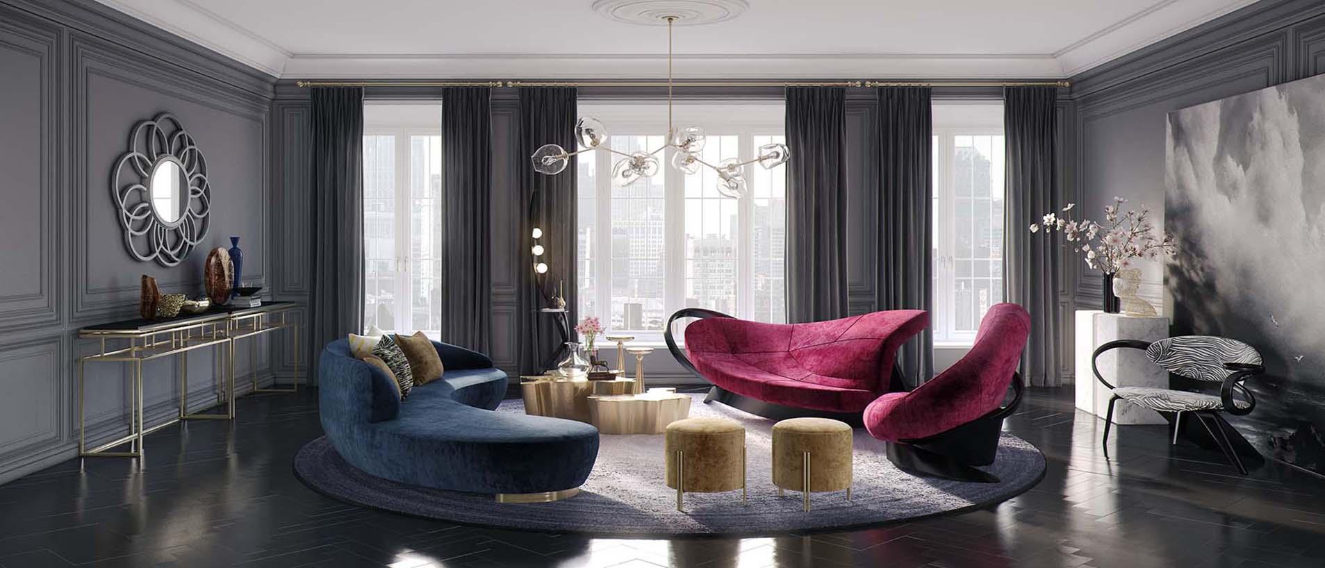 Гостиная с дизайнерской мебелью