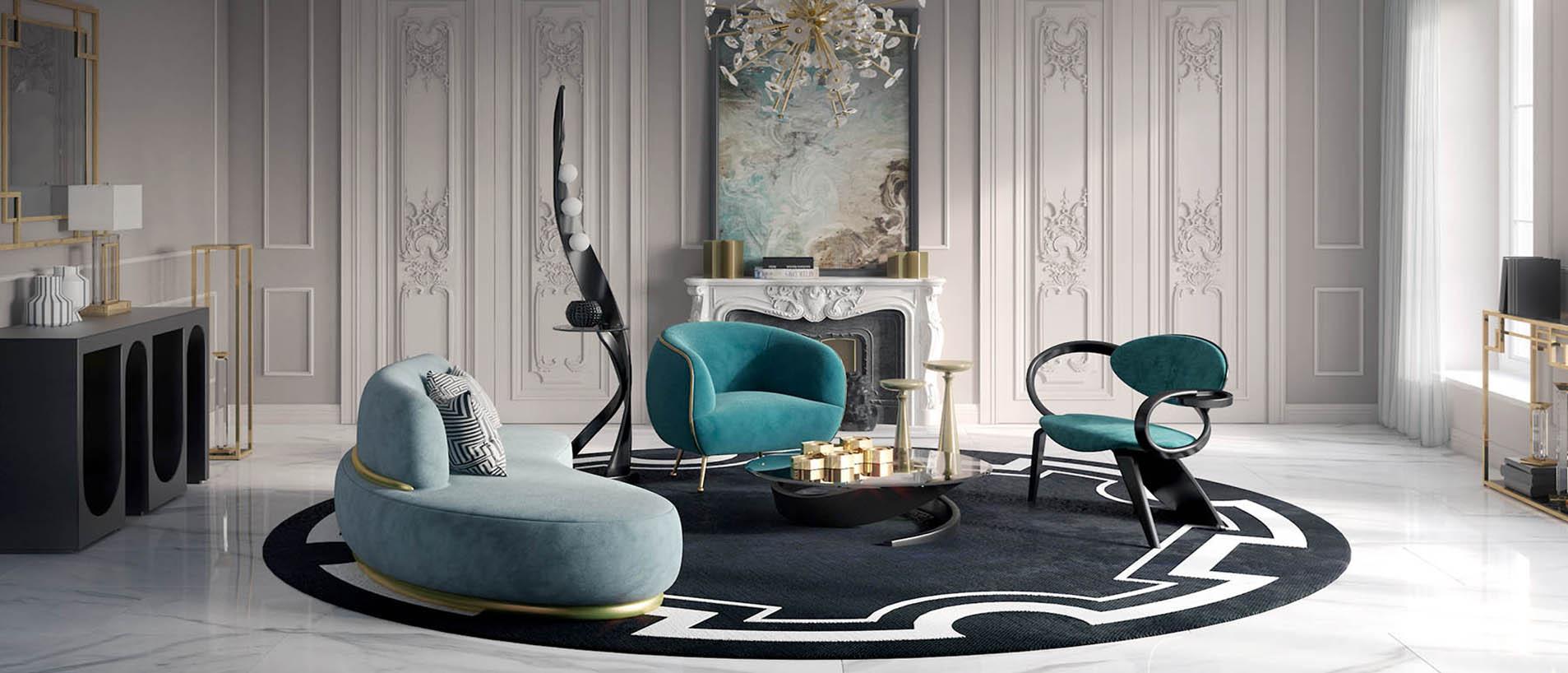 Гостиная с дизайнерской мягкой мебелью