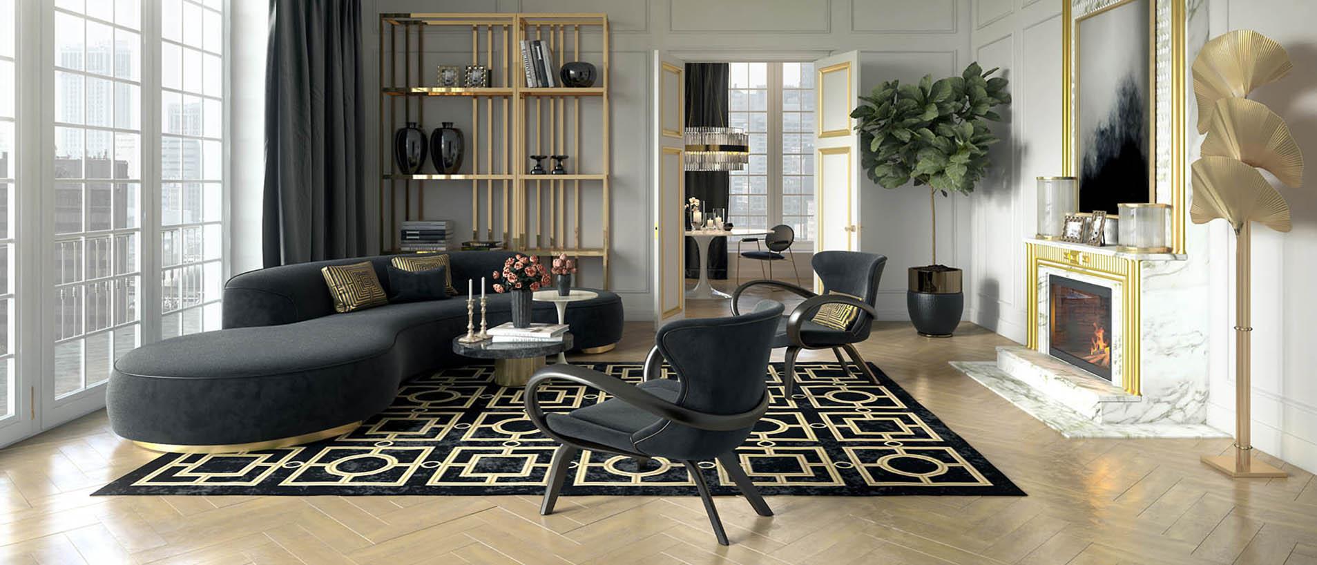 Чёрно золотая гостиная