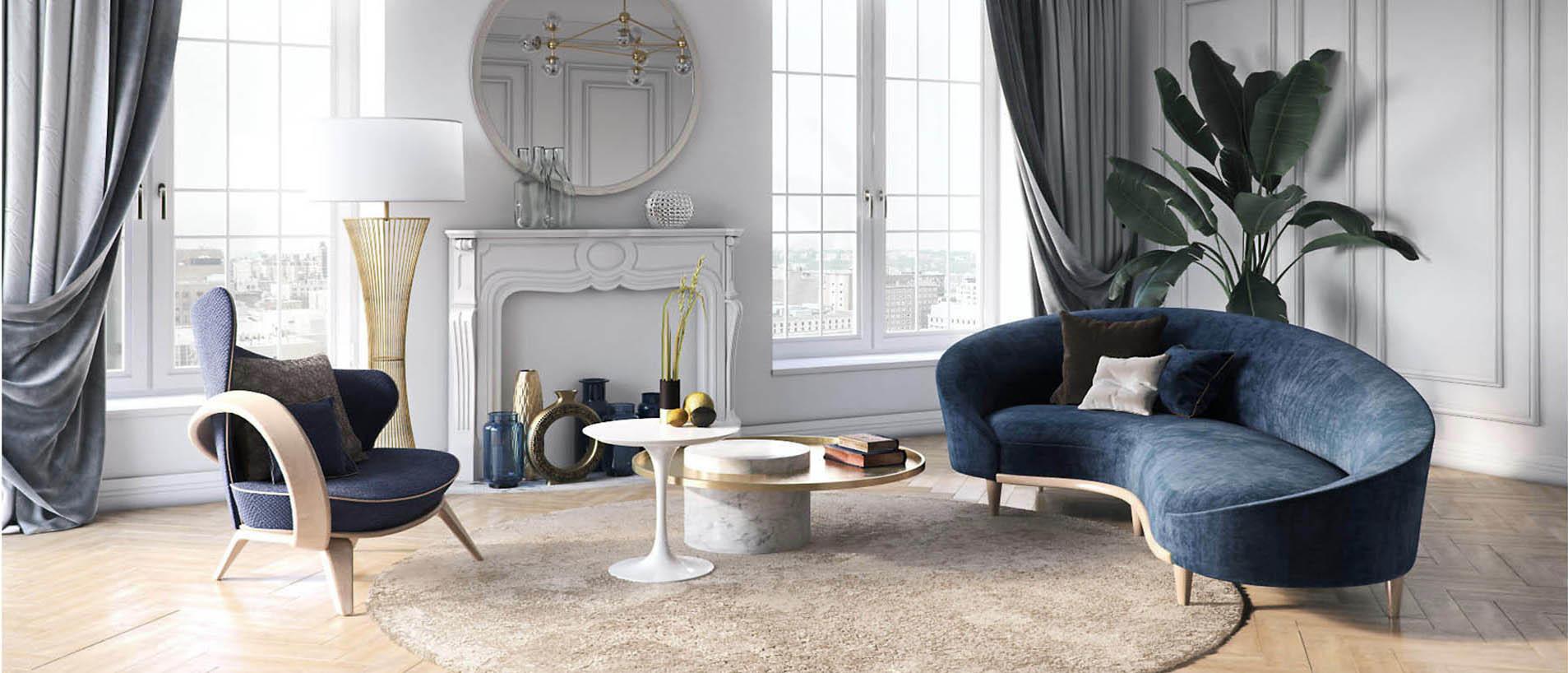 Синий диван и кресло в интерьере гостиной