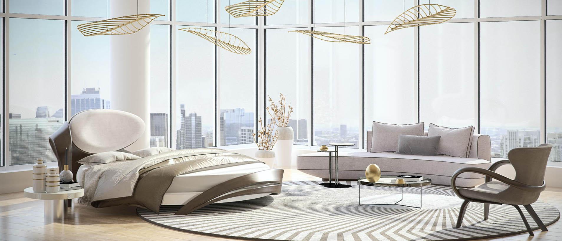 Белая спальня с круглой кроватью