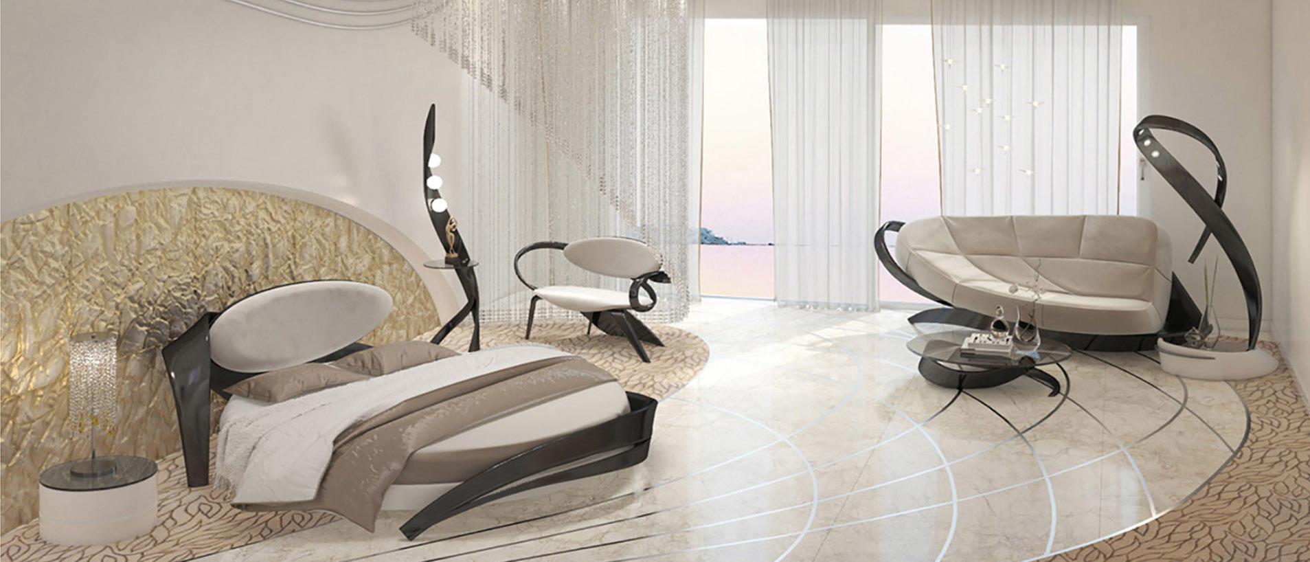 Интерьер спальни с дизайнерской мягкой мебелью
