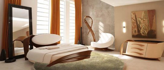 Интерьер спальни с круглой кроватью