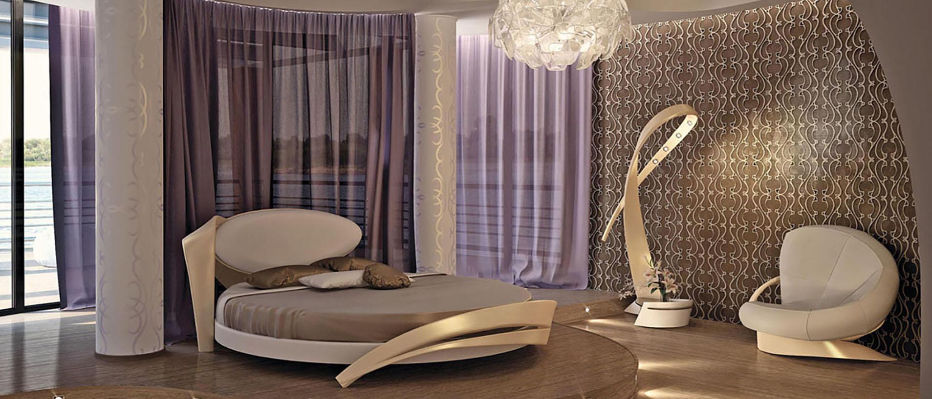 Коричневая спальня с сиреневым акцентом