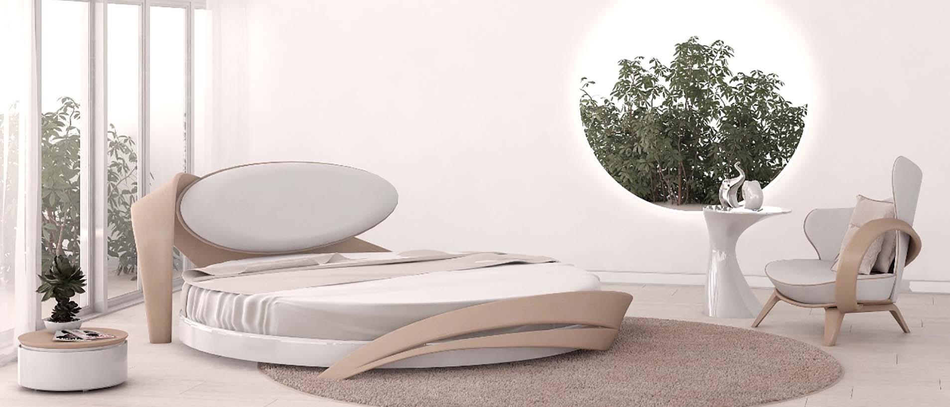 Интерьер спальни в постельных тонах