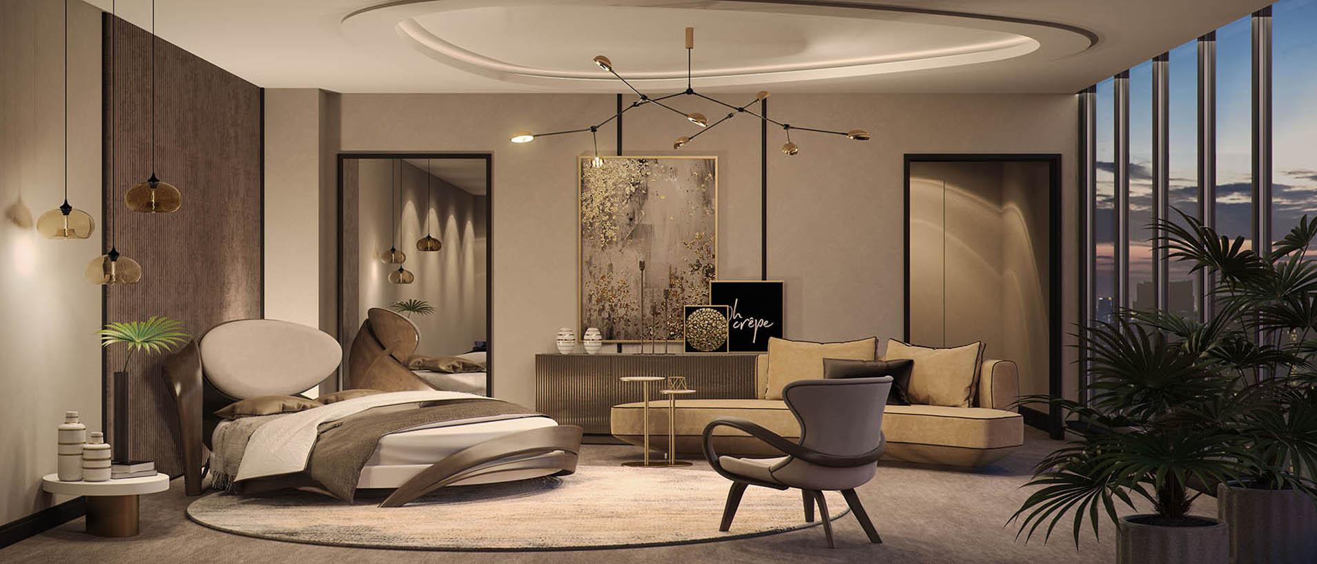 Спальня с радиусным диваном и круглой кроватью