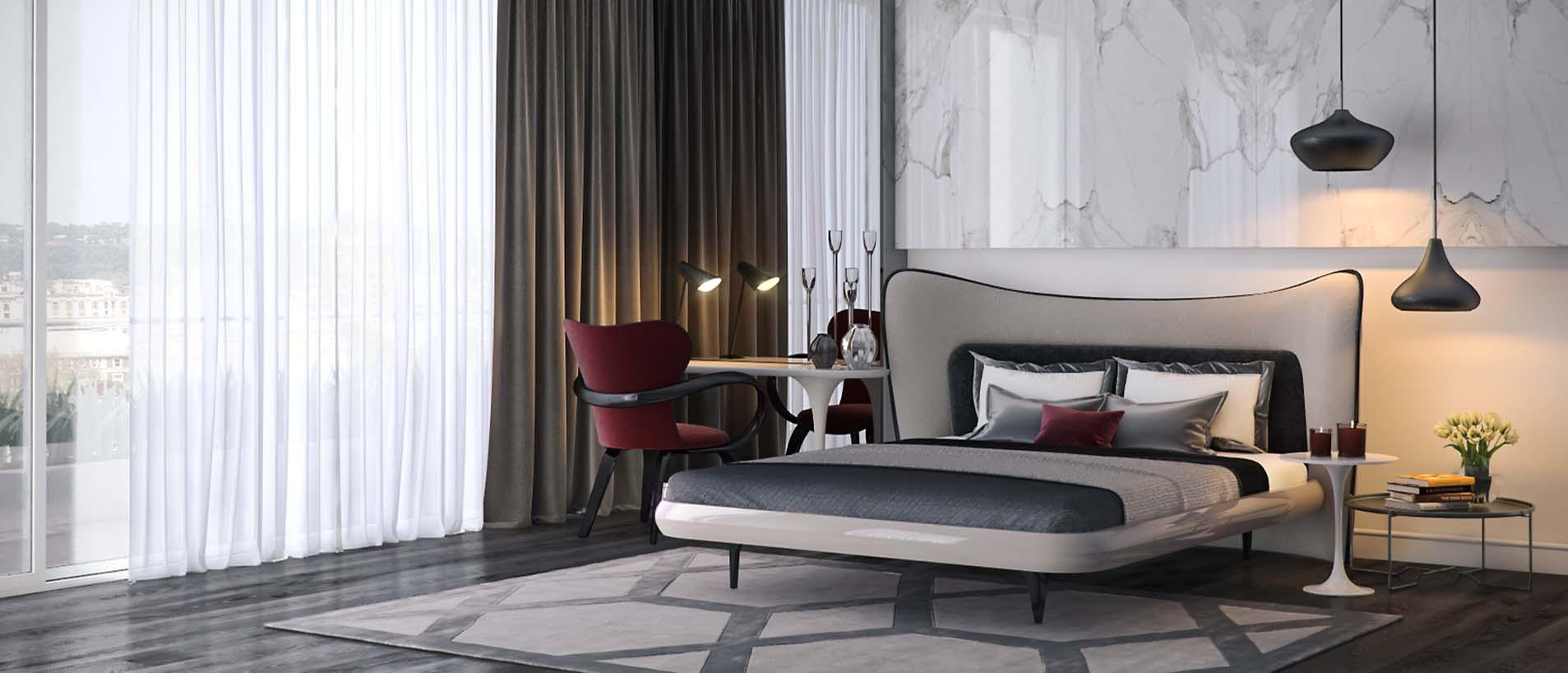 Кровать в стиле модерн в интерьере