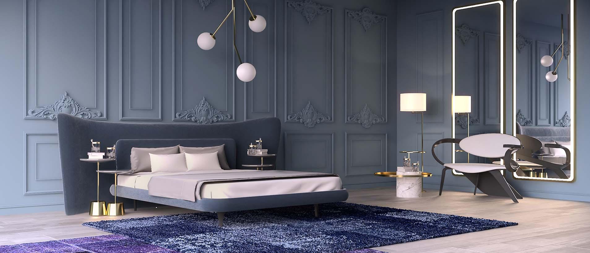 Интерьер синей спальни с дизайнерской мебелью