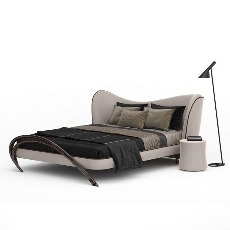 Прямоугольная кровать с мягкой спинкой в стиле модерн