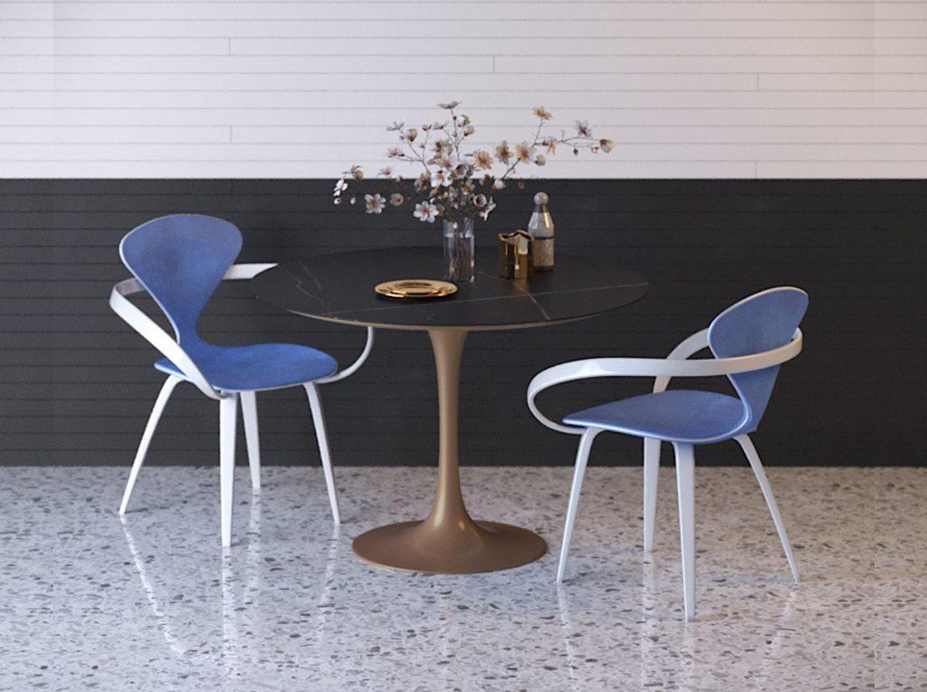 Синие дизайнерские стулья со столом tulip