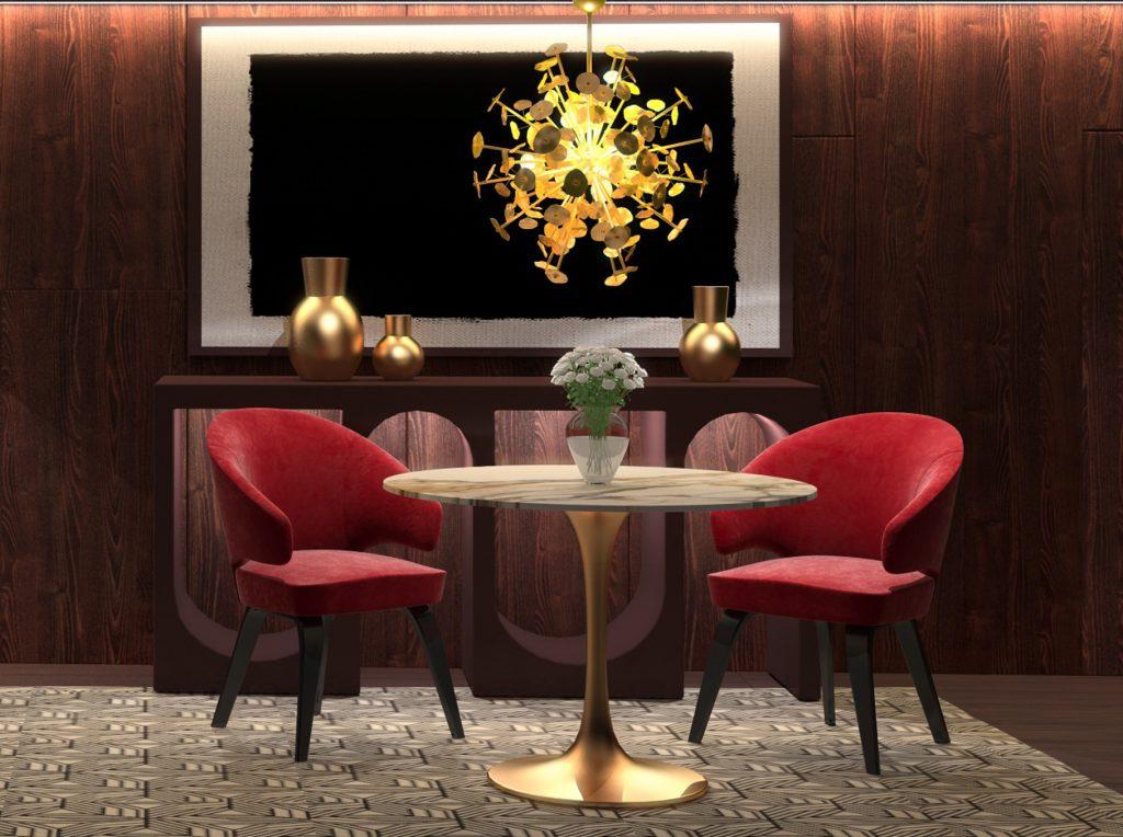 Красный стул с мягкой спинкой в интерьере белой столовой