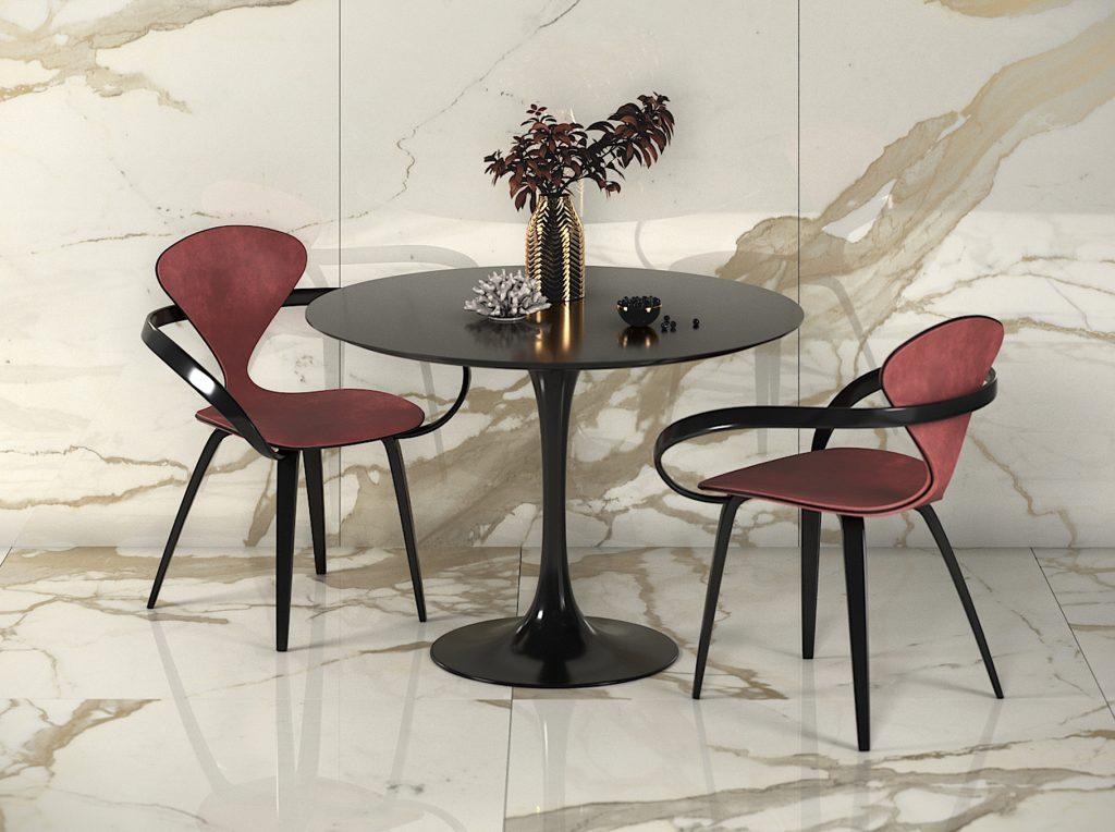 Красные дизайнерские стулья со столом tulip