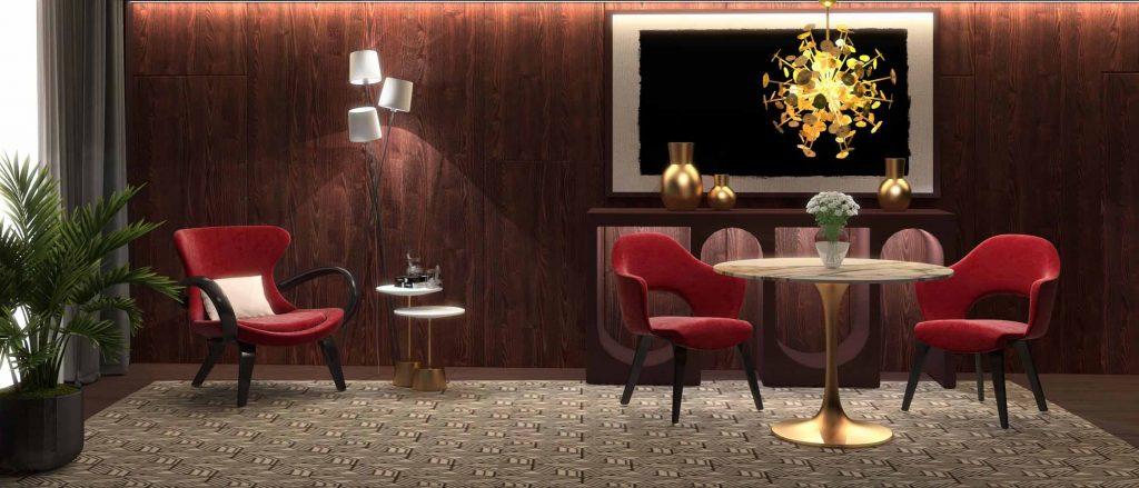 Красный интерьер гостиной с позолоченным столом