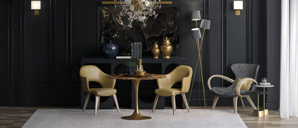 Золотой стул с подлокотниками в интерьере черной гостиной