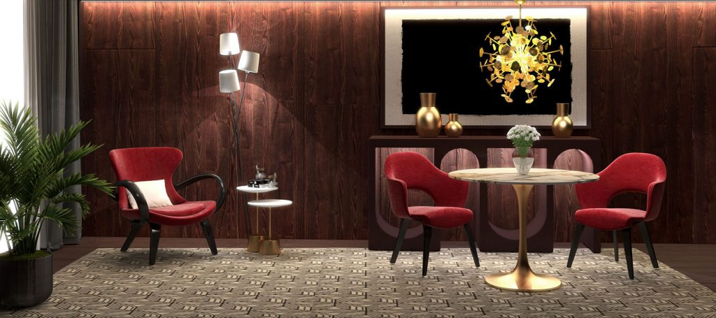 Интерьер комнаты в красных тонах