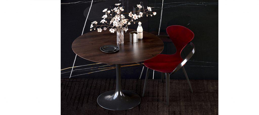 Красный дизайнерский стул с мягкой спинкой