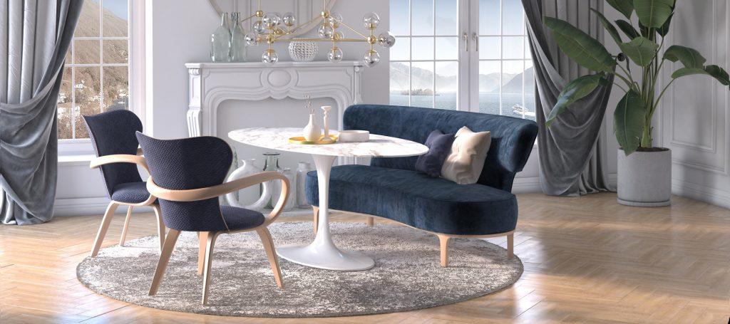 Синяя мягкая мебель в интерьере столовой