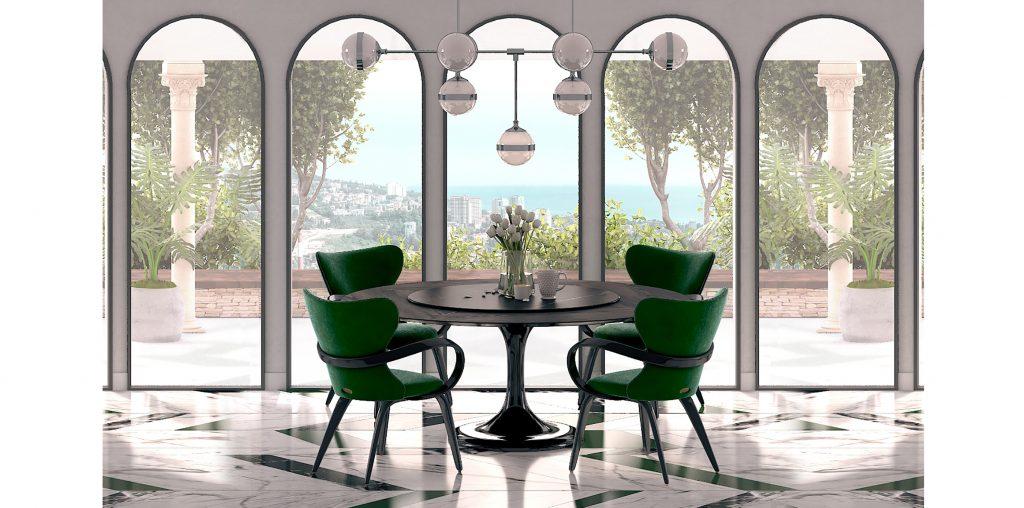Интерьер с большим круглым столом и зелеными стульями