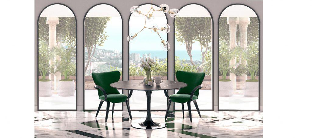 Столовая с зелёными стульями