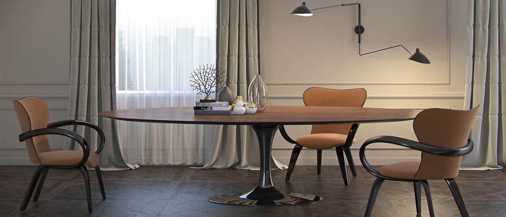 Большой обеденный стол в интерьере пастельной столовой