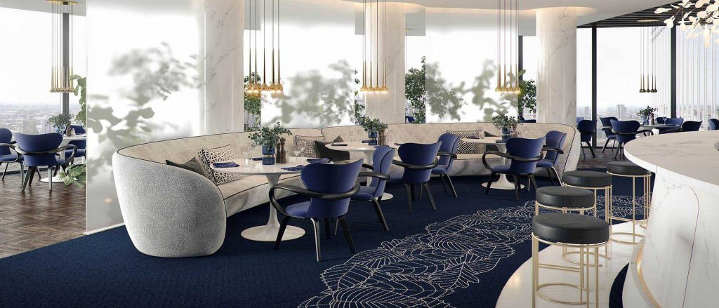 Белый обеденный стол в синем интерьере ресторана