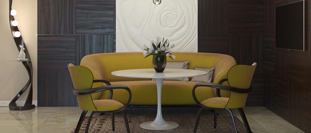 Белый стол в интерьере с ярким акцентом