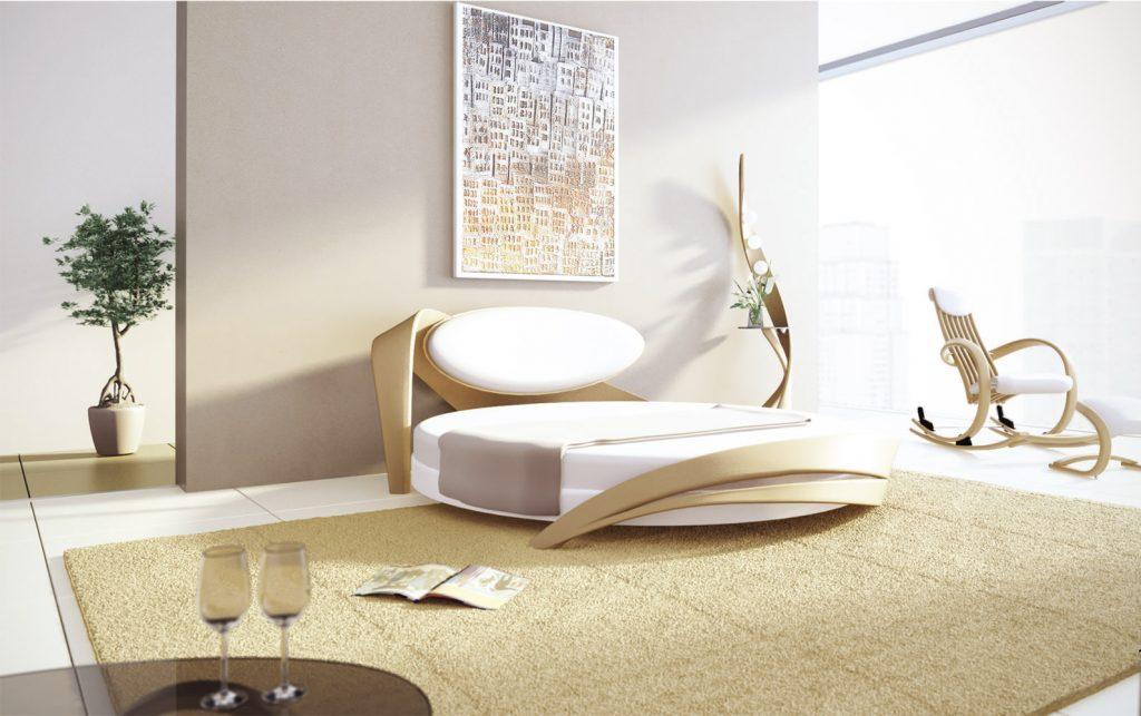 кровать круглая в интерьере