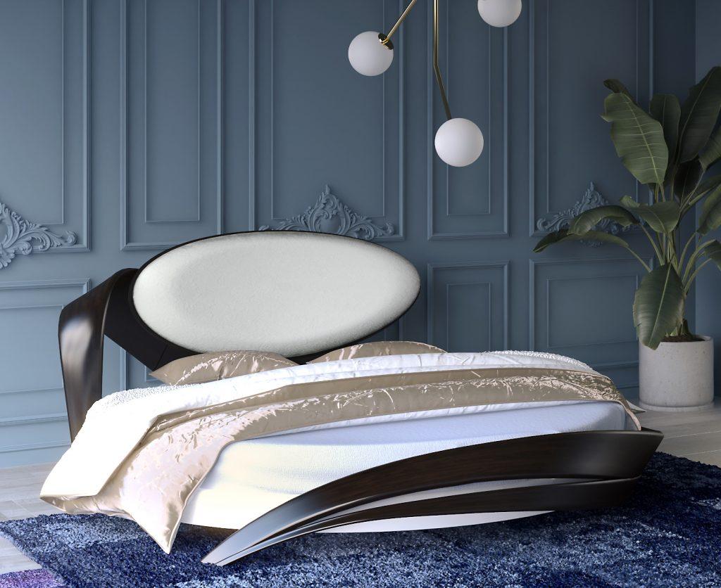 Круглая кровать с декоративным изголовьем