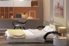 кровать априори S в желтом интерьере